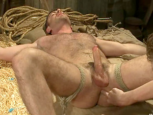 Tied Up Fag Dude Gets His Dick Sucked and Taunted with Playthings in Bondage & discipline Vid
