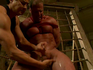 Muscular Derek Ache gets bounded and toyed by a man