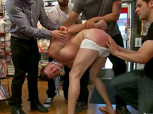 Kyle Braun gets cruelly fucked by a few homosexuals in a shop