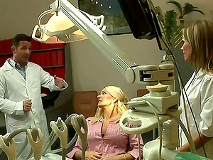 Threesome with Two Hot Big-chested Blondes in the Dentist's