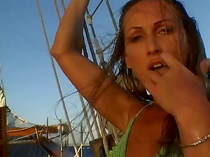 Mandy Bright and Maria Bellucci Sapphic Romp Outdoors on Vessel's Deck