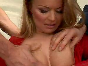 Dual Big Dick Invasion in MMF Threesome for Euro Stunner Dora Venter