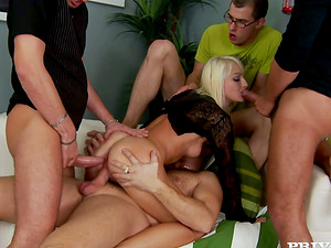 Lena Cova is encircled by three thick penises