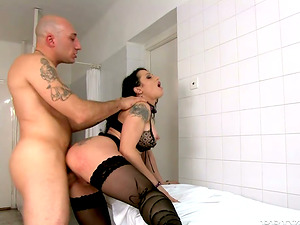 Buxomy Sheila Stone gets butt fucked and creampied