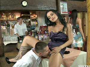 Two black-haired Cougars get fucked in a bar by two studs