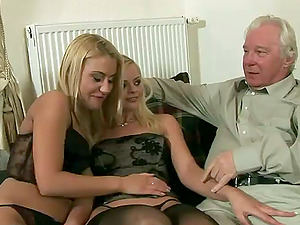 Two sexy blonde stunners have wild fucky-fucky with an old man