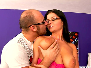 Big-titted dark haired Christina Jolie deep-throats a shaft before and after railing it