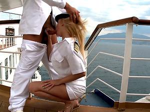 Buxom blondie stewardess fucks her captain