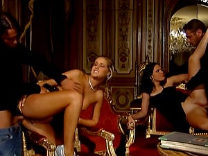 Jennifer and Sarah get fucked in hot group fucky-fucky vid