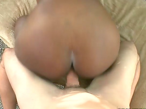 Big tittied black chick gets fucked by Milky dude outdoors