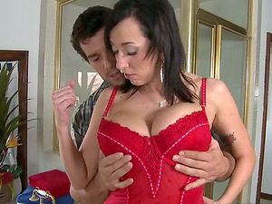 Superb Alia Janine rails a dick and gives a boobjob in a bedroom