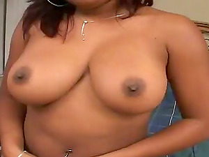 Huge-chested black chick Kamay blows and gets fucked in many positions