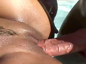 Filthy Malaysian honey is being poked outdoors