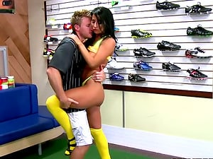 Black-haired Soccer Mom Sophia Bella Fucked Hard in Sports Store