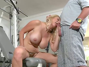 Big-chested blonde Ingrid Swenson gets fucked by a horny man in a gym